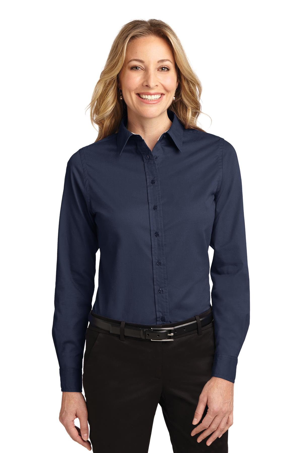 Port Authority ®  Ladies Long Sleeve Easy Care Shirt.  L608 - Navy/ Light Stone