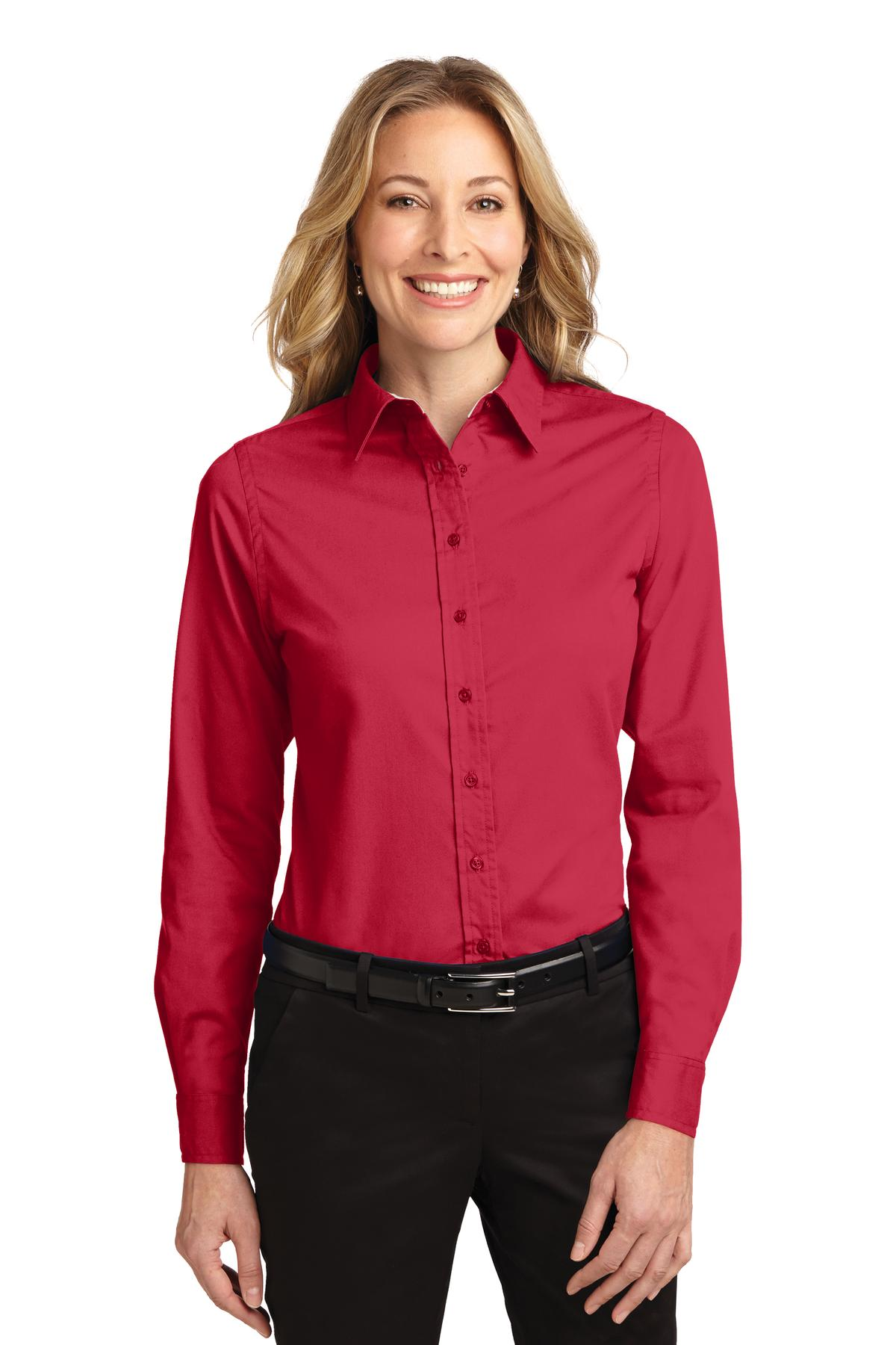 Port Authority ®  Ladies Long Sleeve Easy Care Shirt.  L608 - Red/ Light Stone