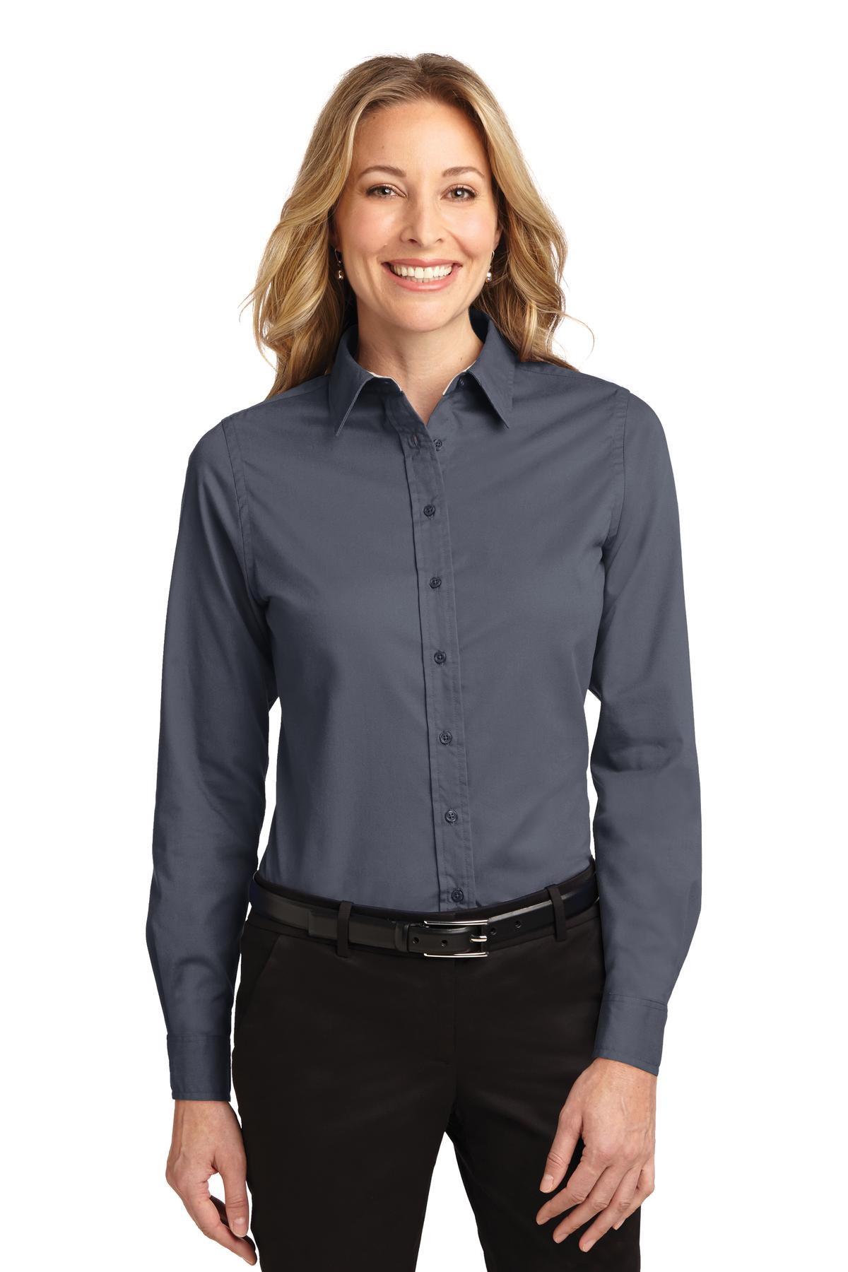 Port Authority ®  Ladies Long Sleeve Easy Care Shirt.  L608 - Steel Grey/ Light Stone