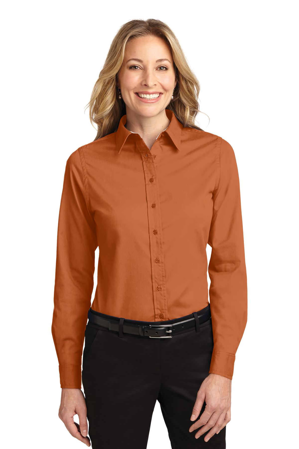 Port Authority ®  Ladies Long Sleeve Easy Care Shirt.  L608 - Texas Orange/ Light Stone