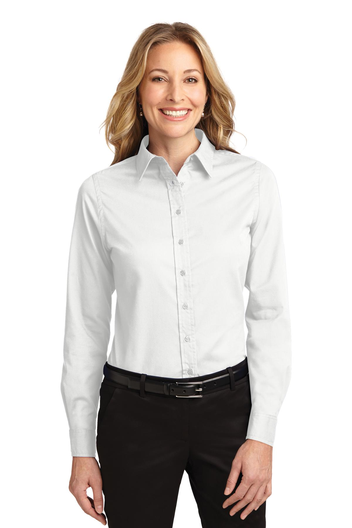Port Authority ®  Ladies Long Sleeve Easy Care Shirt.  L608 - White/ Light Stone