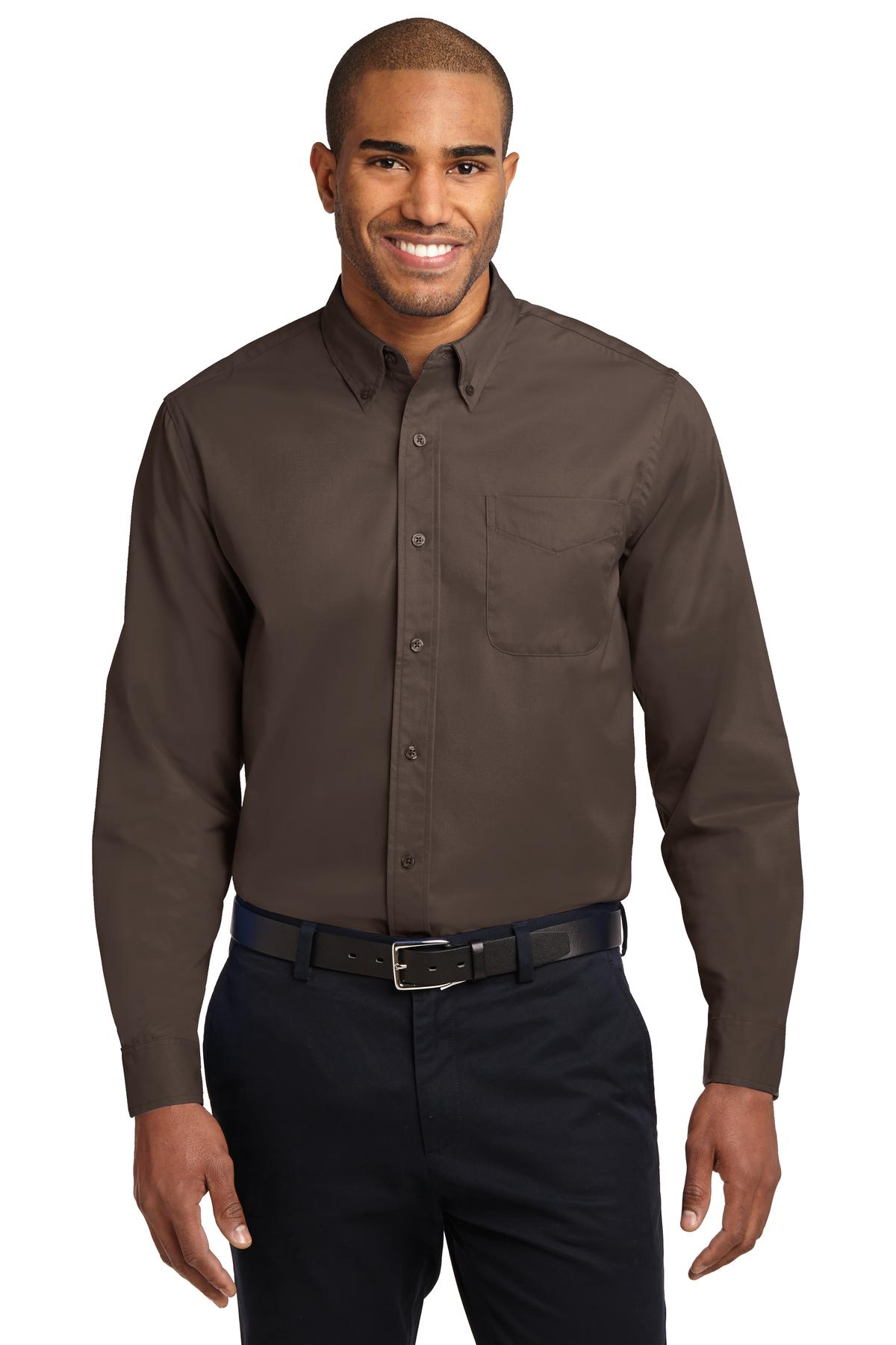 Port Authority ®  Extended Size Long Sleeve Easy Care Shirt. S608ES - Coffee Bean/ Light Stone
