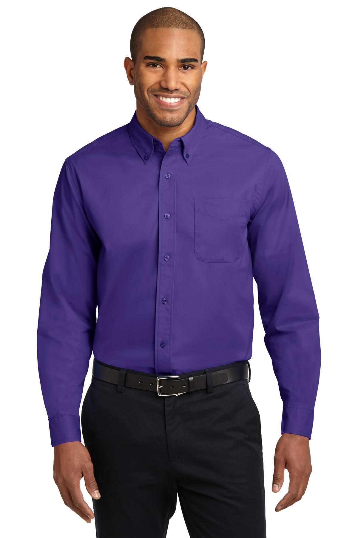 Port Authority ®  Extended Size Long Sleeve Easy Care Shirt. S608ES - Purple/ Light Stone