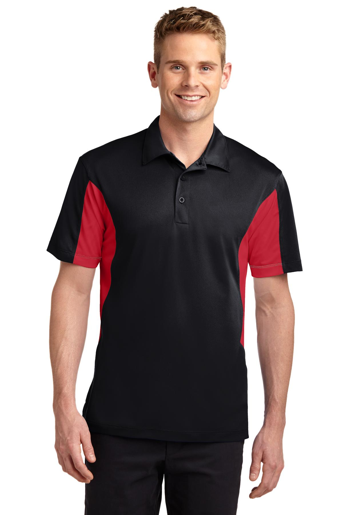 Sport-Tek ®  Tall Side Blocked Micropique Sport-Wick ®  Polo. TST655 - Black/ True Red