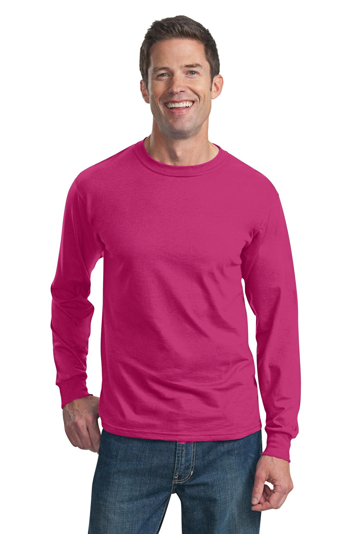 Fruit of the Loom ®  HD Cotton ™  100% Cotton Long Sleeve T-Shirt. 4930 - Cyber Pink