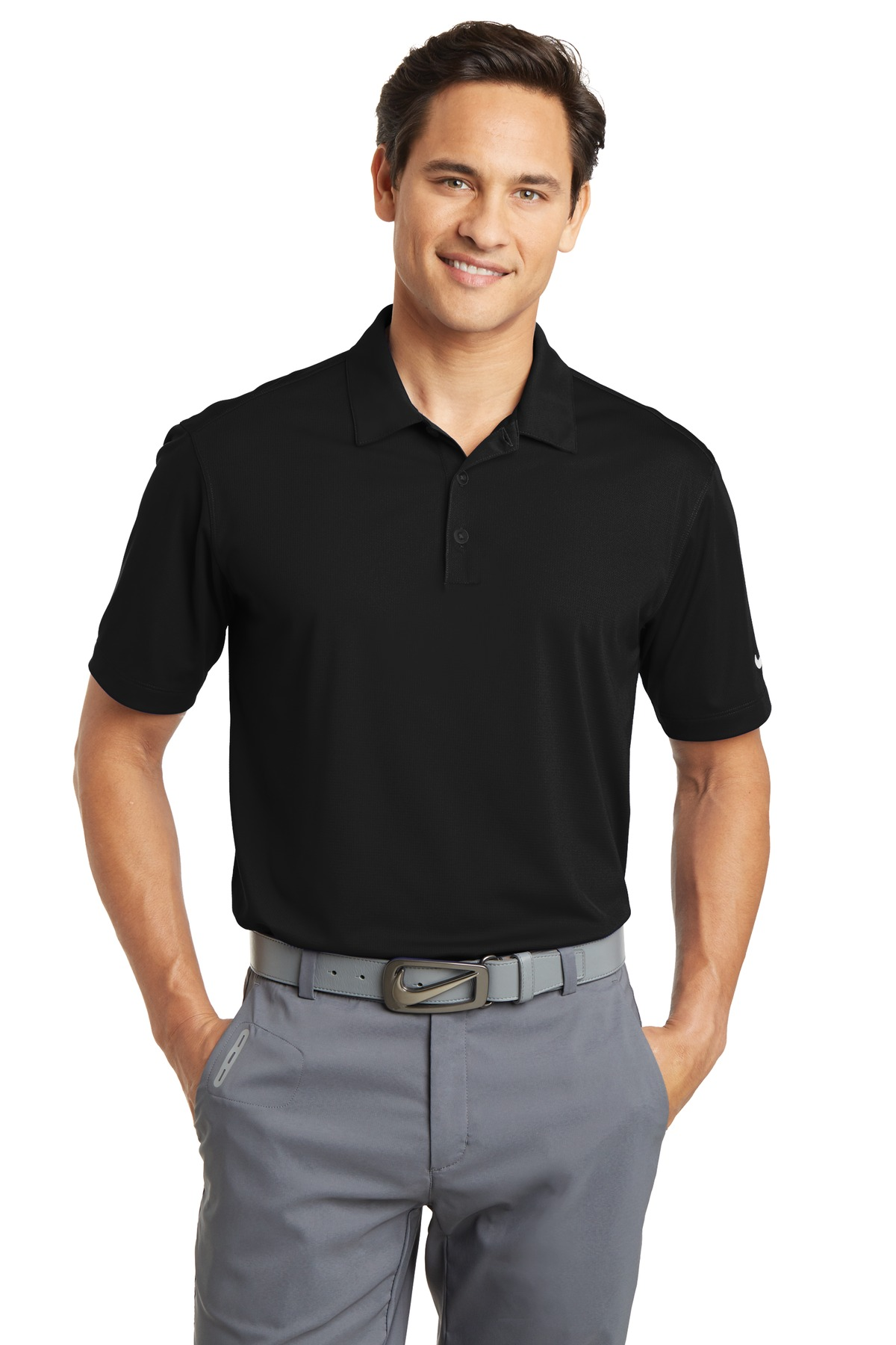 Nike Dri-FIT Vertical Mesh Polo. 637167 - Black