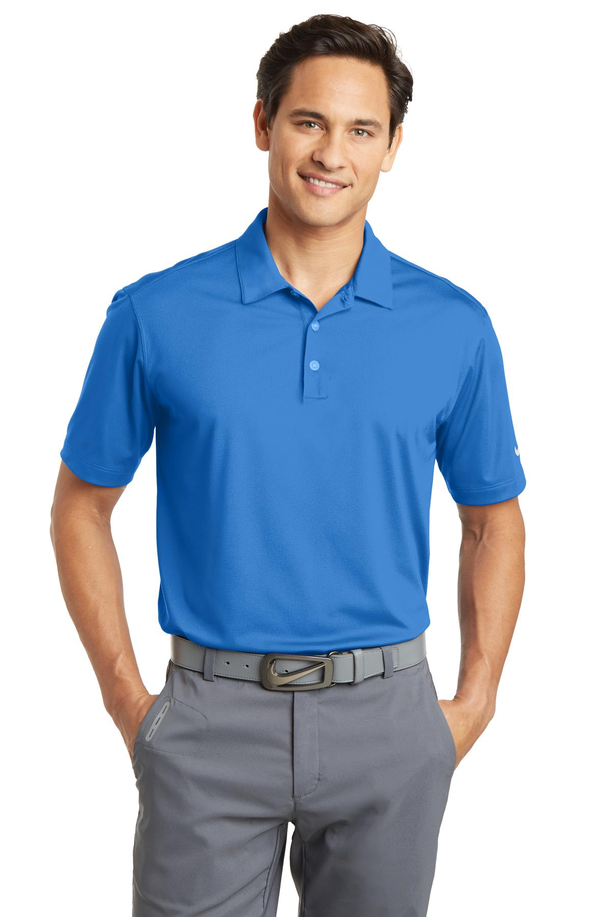 Nike Dri-FIT Vertical Mesh Polo. 637167 - Brisk Blue