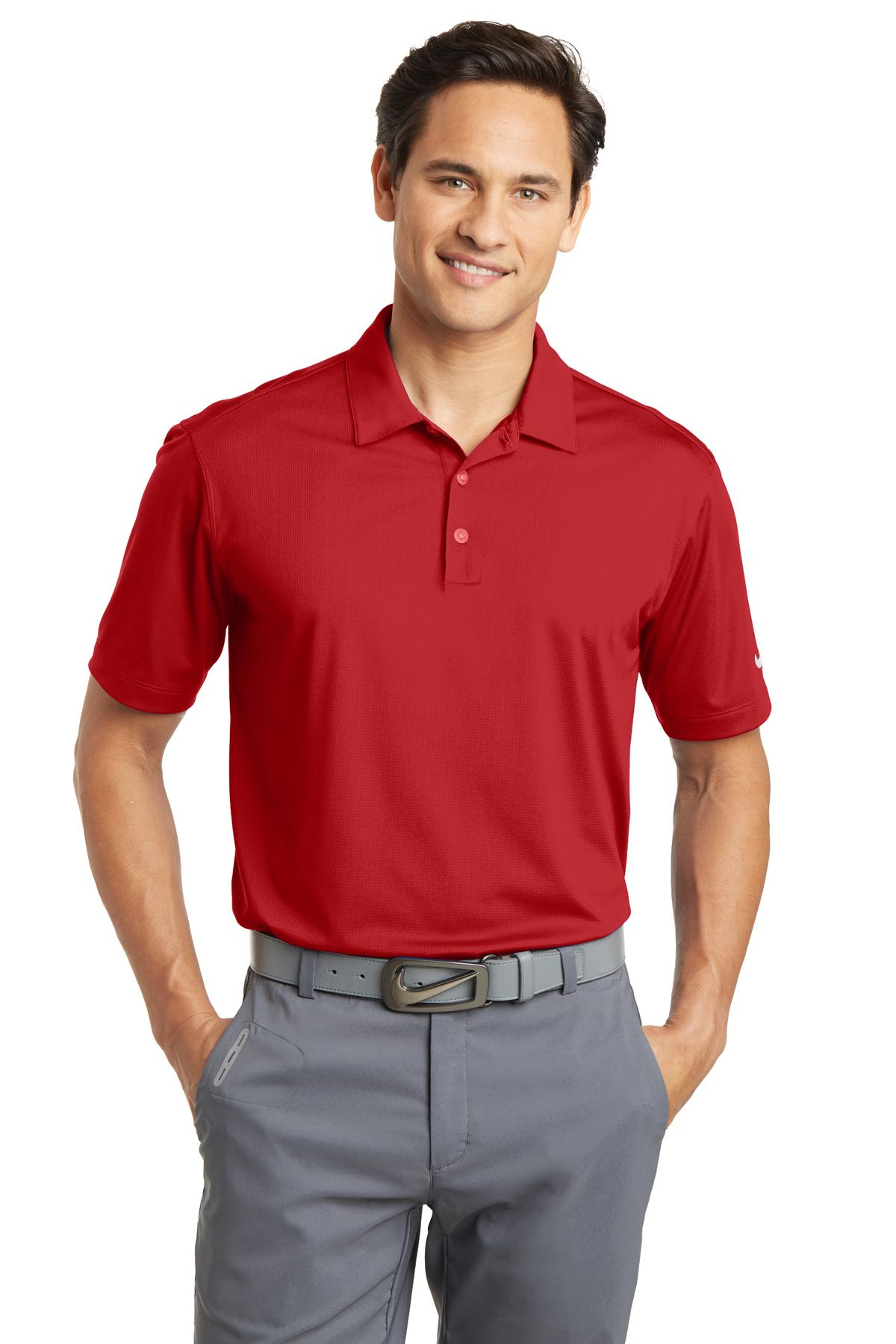 Nike Dri-FIT Vertical Mesh Polo. 637167 - University Red