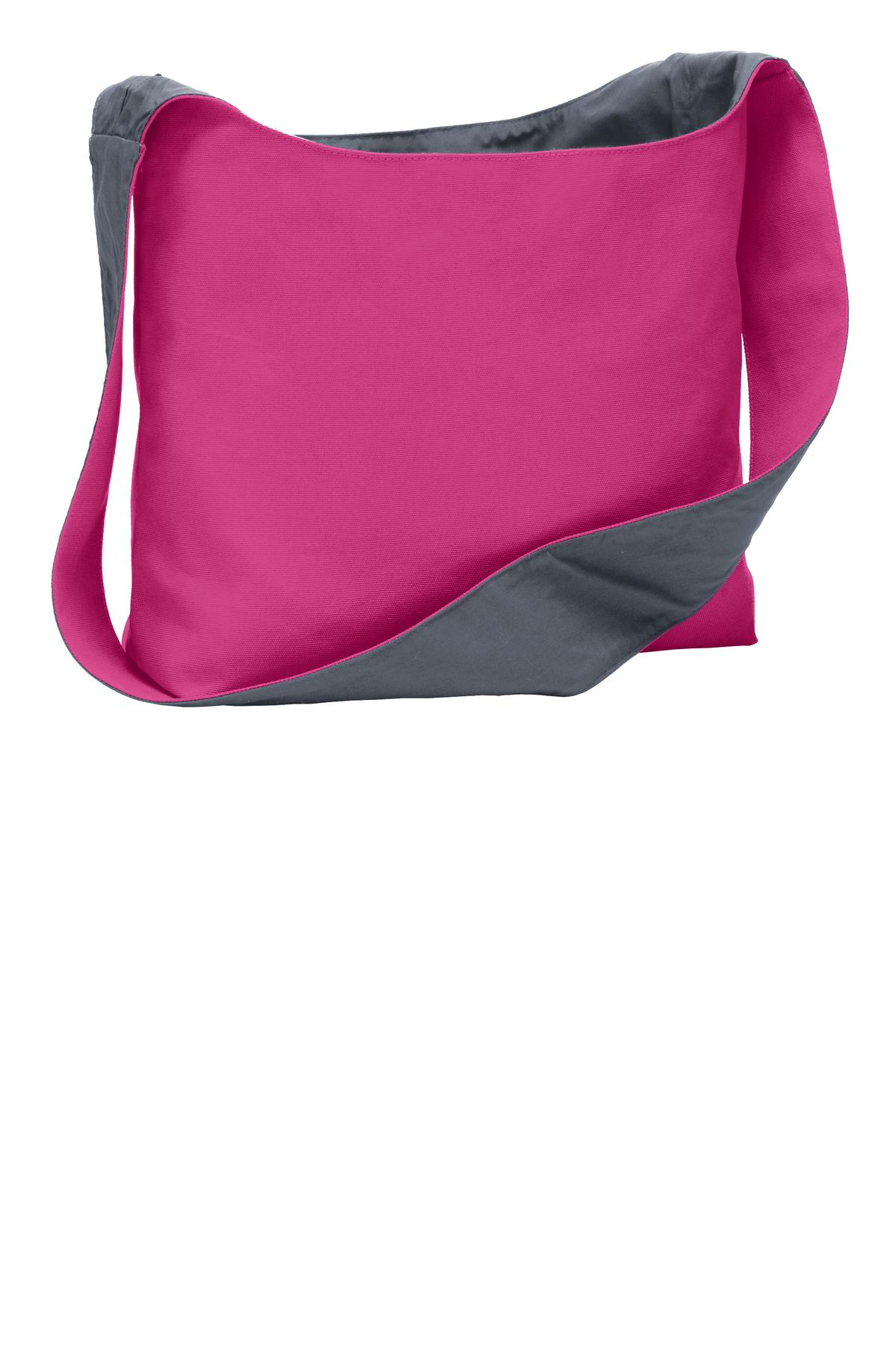 Port Authority ®  Cotton Canvas Sling Bag. BG405 - Tropical Pink/ Charcoal