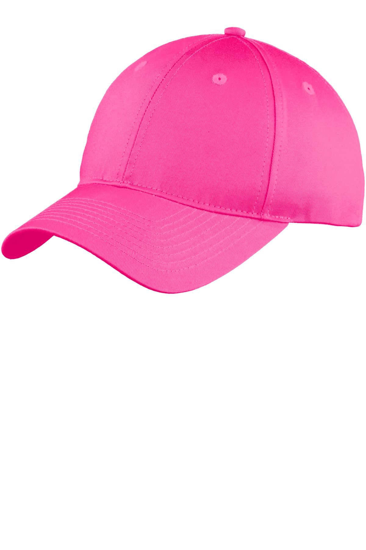 Port & Company ®  Six-Panel Unstructured Twill Cap. C914 - Neon Pink