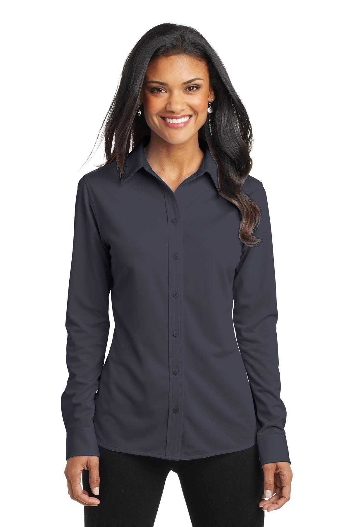 Port Authority ®  Ladies Dimension Knit Dress Shirt. L570 - Battleship Grey