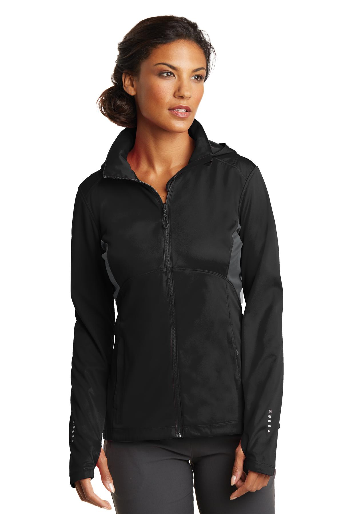 OGIO ®  ENDURANCE Ladies Pivot Soft Shell. LOE721 - Blacktop/ Gear Grey