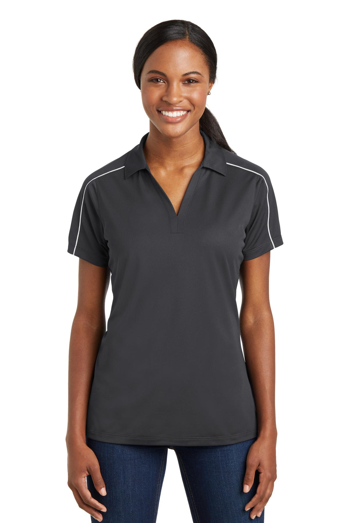 Sport-Tek ®  Ladies Micropique Sport-Wick ®  Piped Polo. LST653 - Iron Grey/ White
