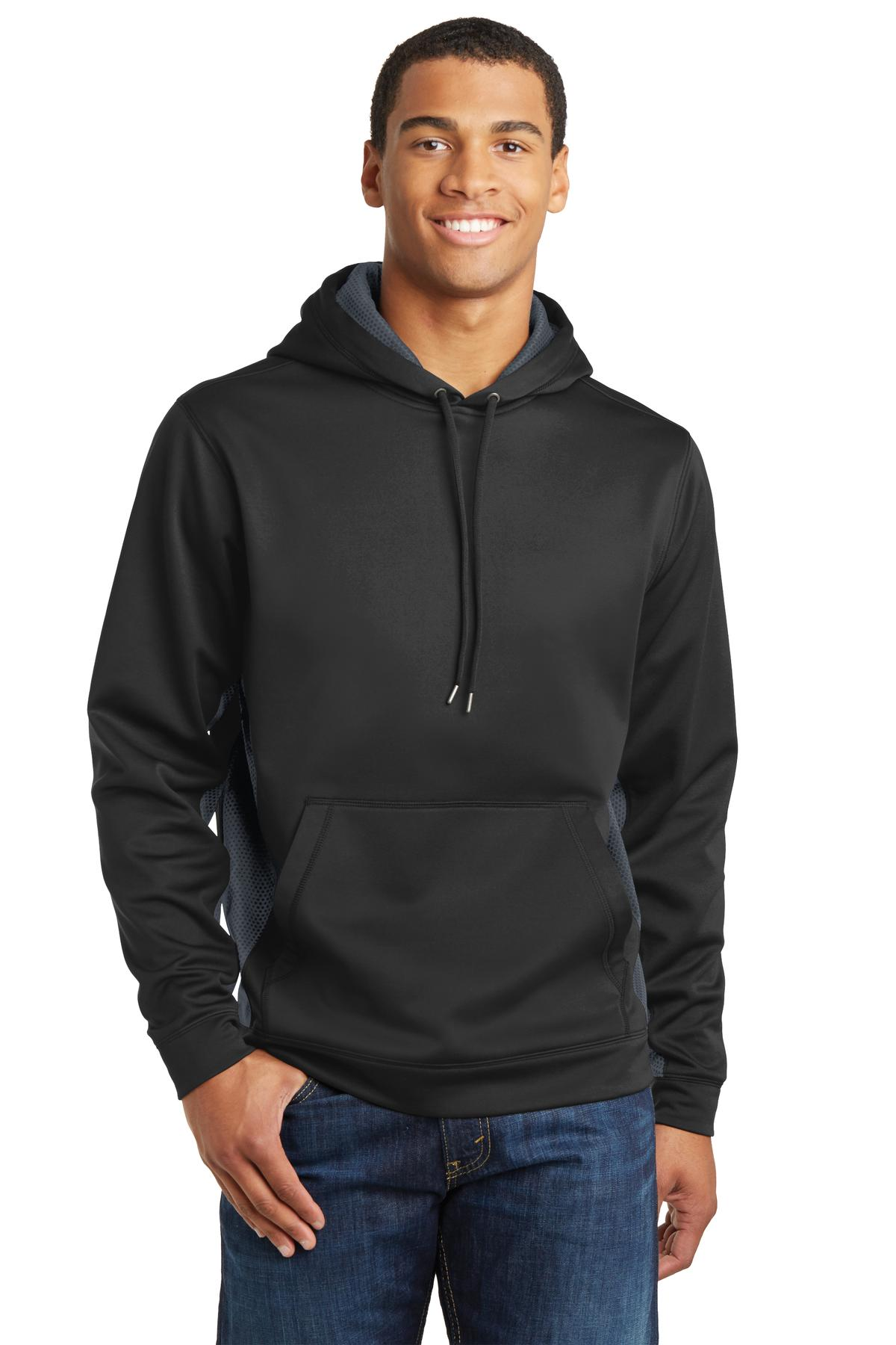 Sport-Tek ®  Sport-Wick ®  CamoHex Fleece Colorblock Hooded Pullover. ST239 - Black/ Dark Smoke Grey