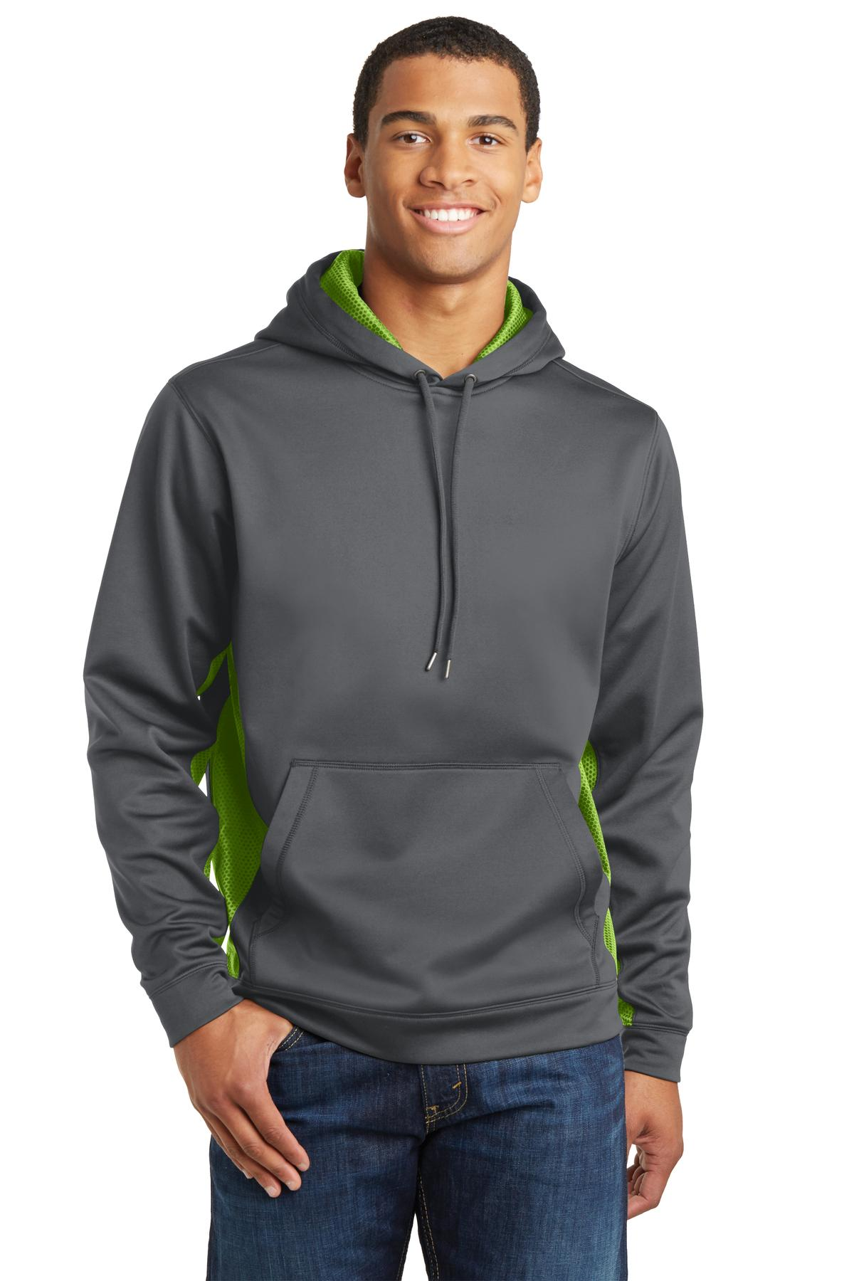 Sport-Tek ®  Sport-Wick ®  CamoHex Fleece Colorblock Hooded Pullover. ST239 - Dark Smoke Grey/ Lime Shock