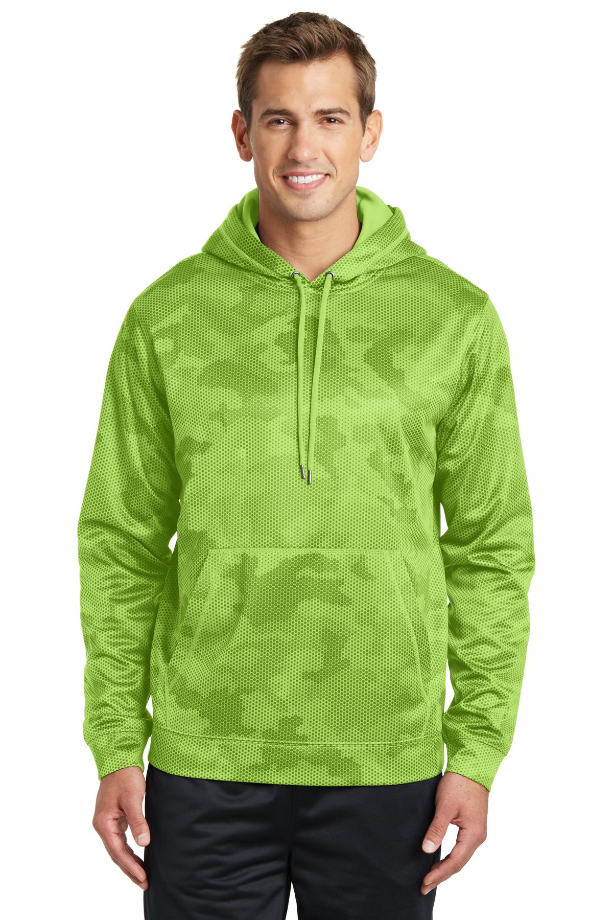 Sport-Tek ®  Sport-Wick ®  CamoHex Fleece Hooded Pullover. ST240 - Lime Shock