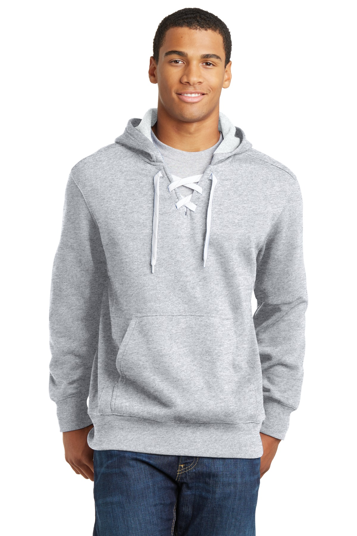 Sport-Tek ®  Lace Up Pullover Hooded Sweatshirt. ST271 - Athletic Heather