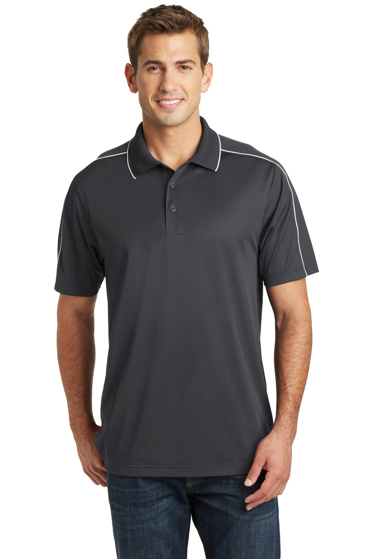 Sport-Tek ®  Micropique Sport-Wick ®  Piped Polo. ST653 - Iron Grey/ White