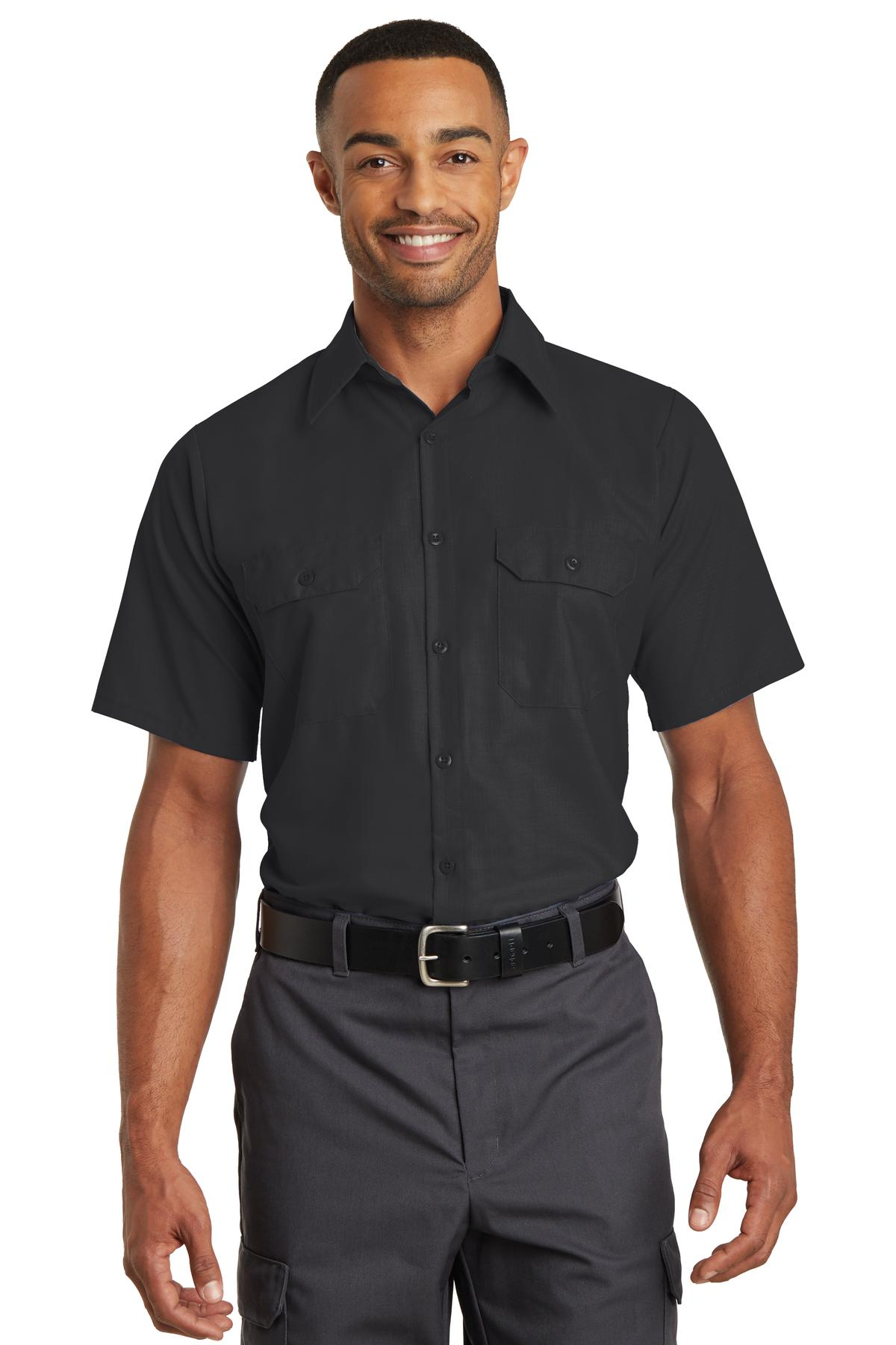 Red Kap ®  Short Sleeve Solid Ripstop Shirt. SY60 - Black