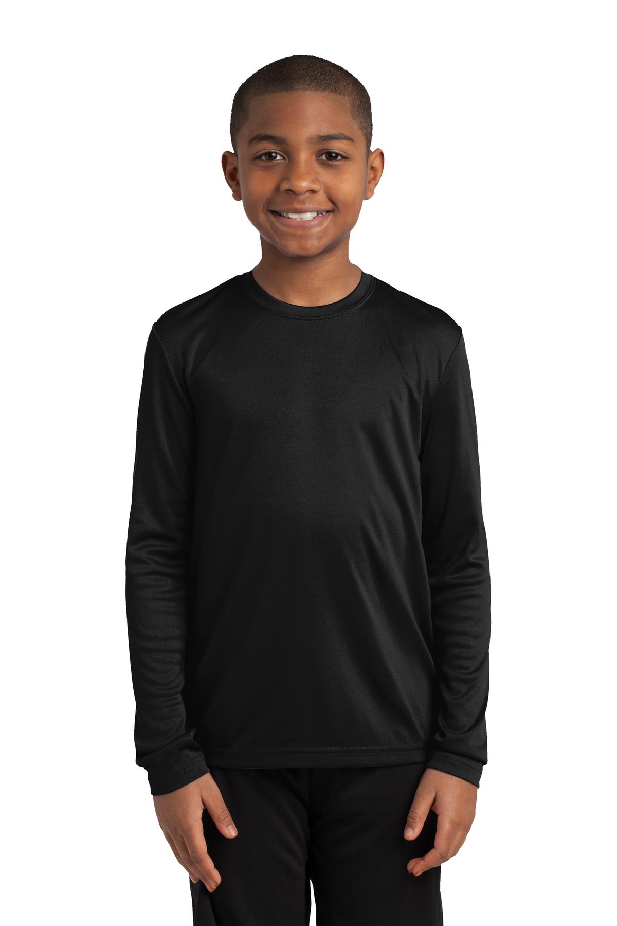 Sport-Tek ®  Youth Long Sleeve PosiCharge ®  Competitor™ Tee. YST350LS - Black