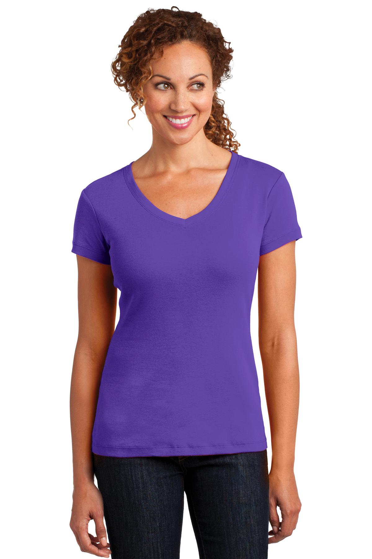 CLOSEOUT District Made Ladies Mini Rib V-Neck Tee. DM401