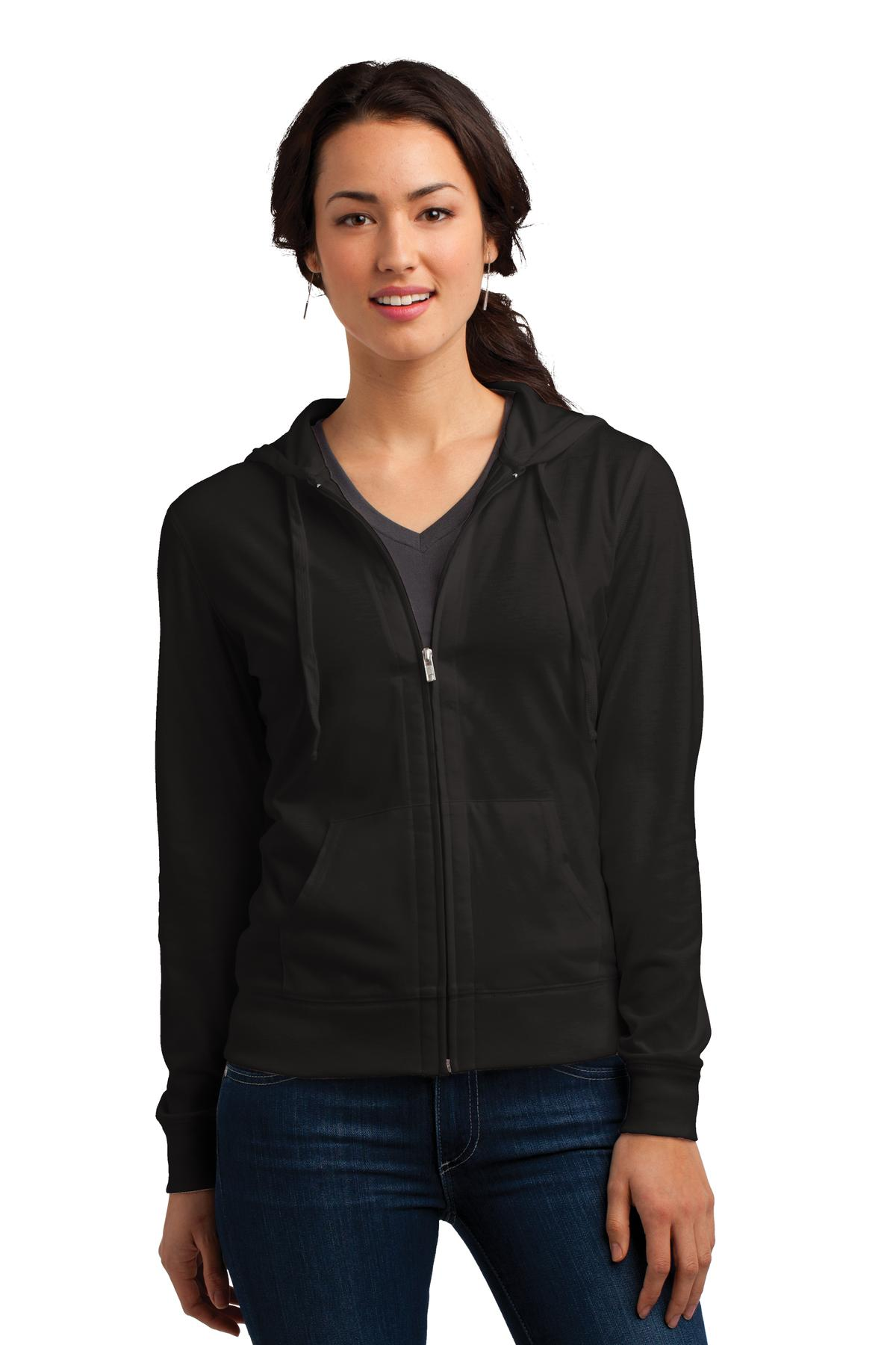 District ®  Women's Fitted Jersey Full-Zip Hoodie. DT2100 - Black