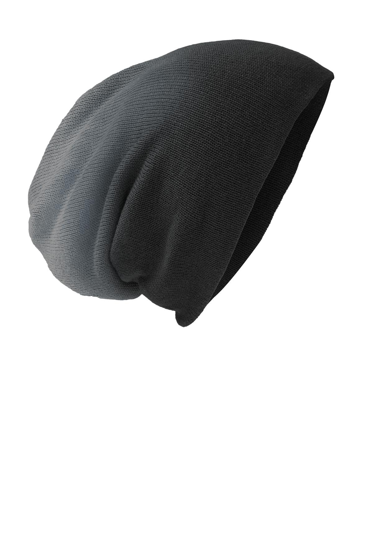 District ®  Slouch Beanie DT618 - Black Dip Dye