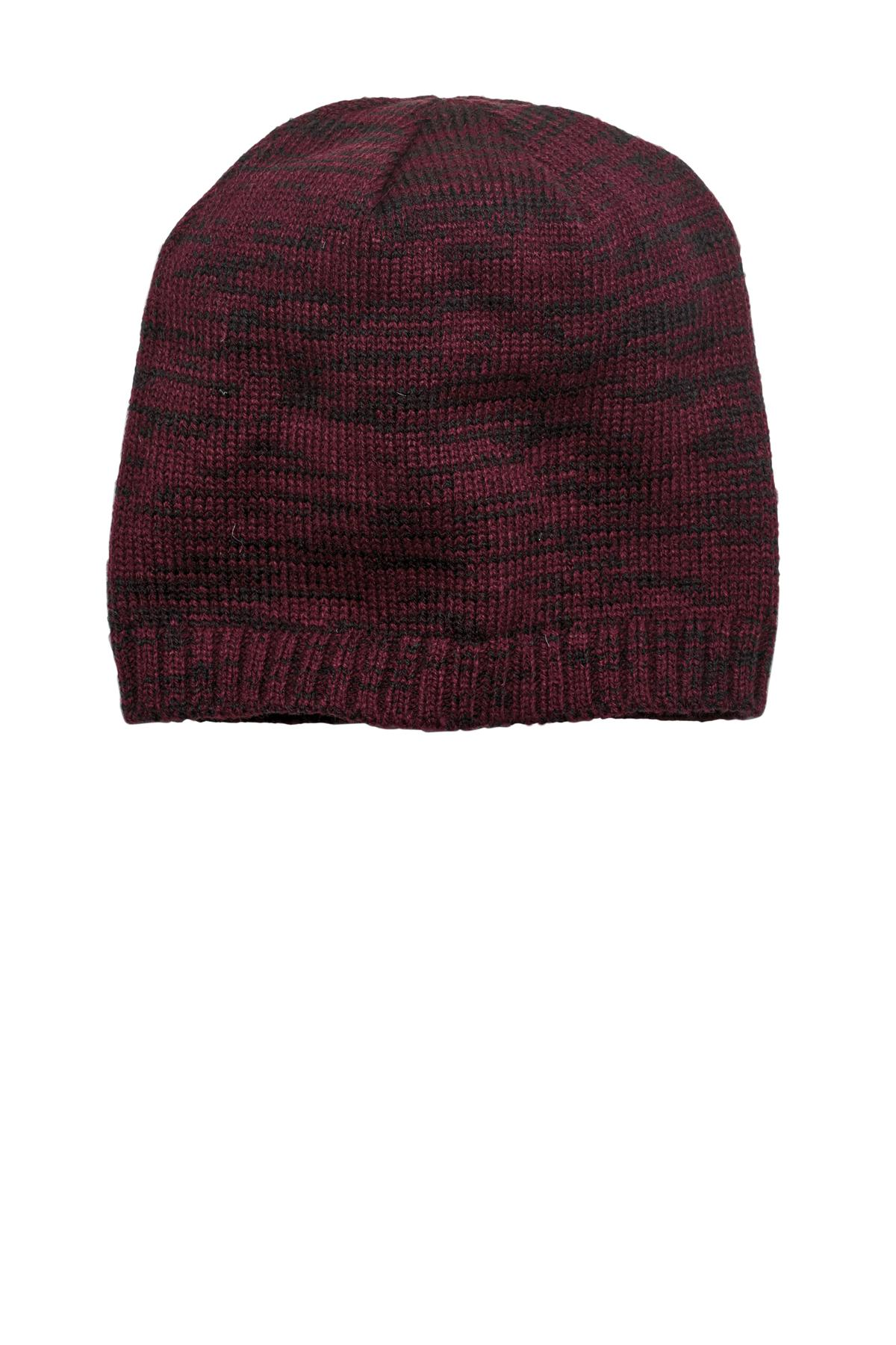 District ®  Spaced-Dyed Beanie DT620 - Maroon/ Black