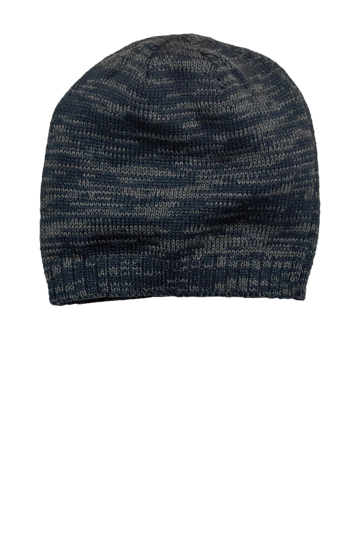 District ®  Spaced-Dyed Beanie DT620 - New Navy/ Charcoal