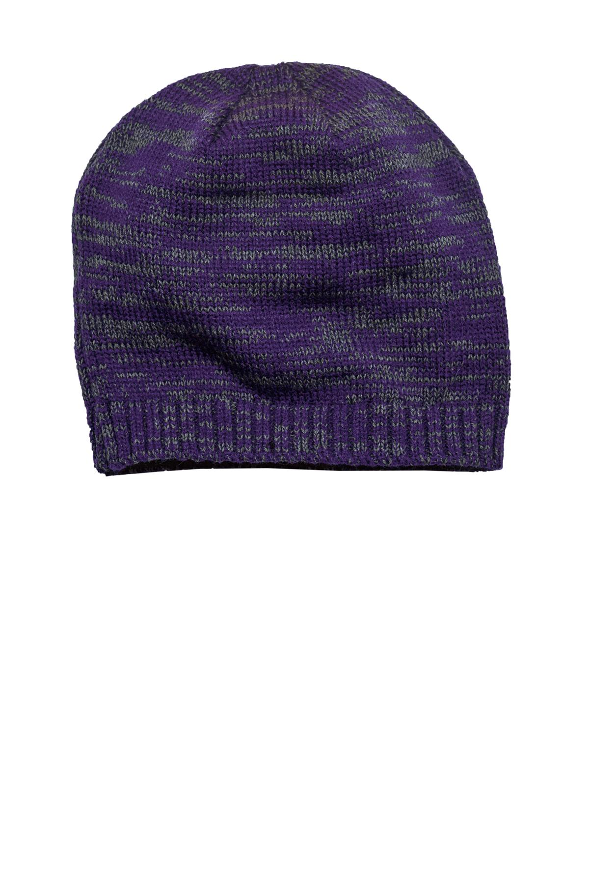 District ®  Spaced-Dyed Beanie DT620 - Purple/ Charcoal