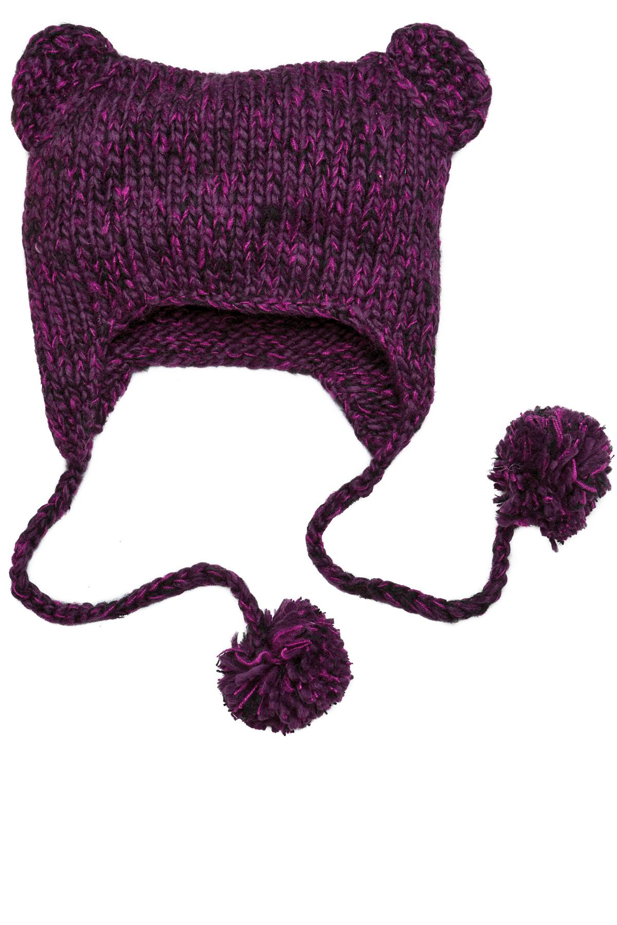 CLOSEOUT District - Hand Knit Cat-Eared Beanie. DT626