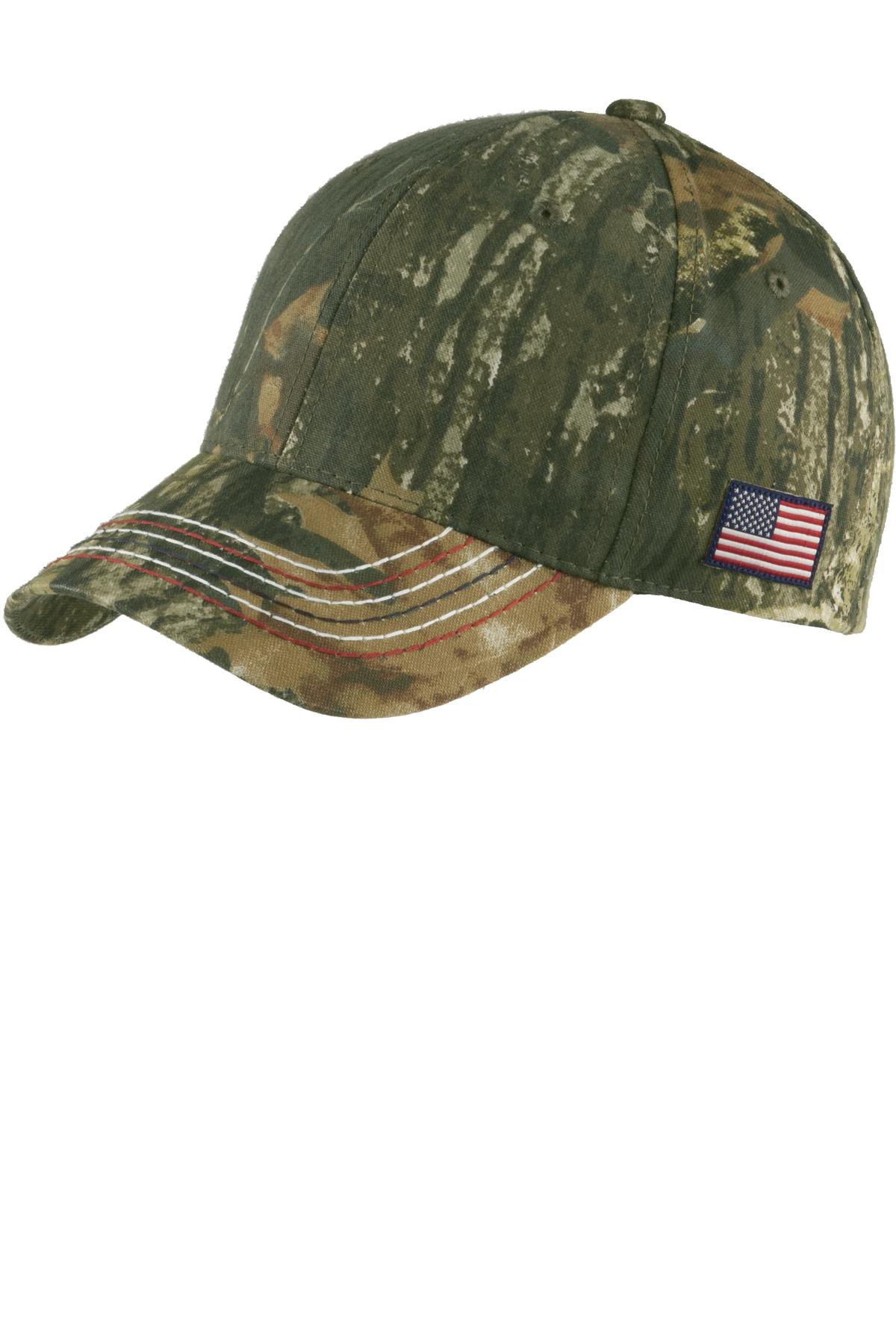Port Authority ®  Americana Contrast Stitch Camouflage Cap. C909 - Mossy Oak New Break-Up