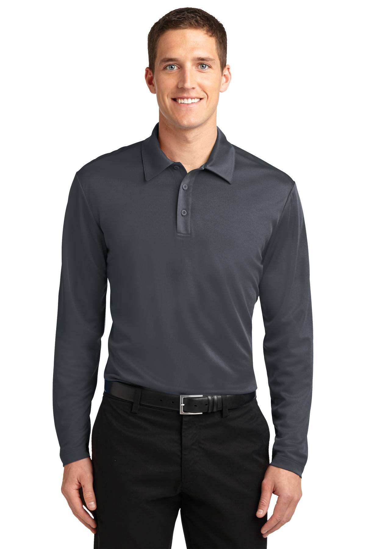 Port Authority ®  Silk Touch™ Performance Long Sleeve Polo. K540LS - Steel Grey