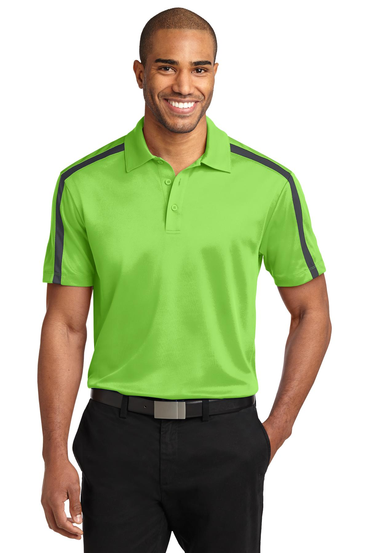 Port Authority ®  Silk Touch™ Performance Colorblock Stripe Polo. K547 - Lime/ Steel Grey