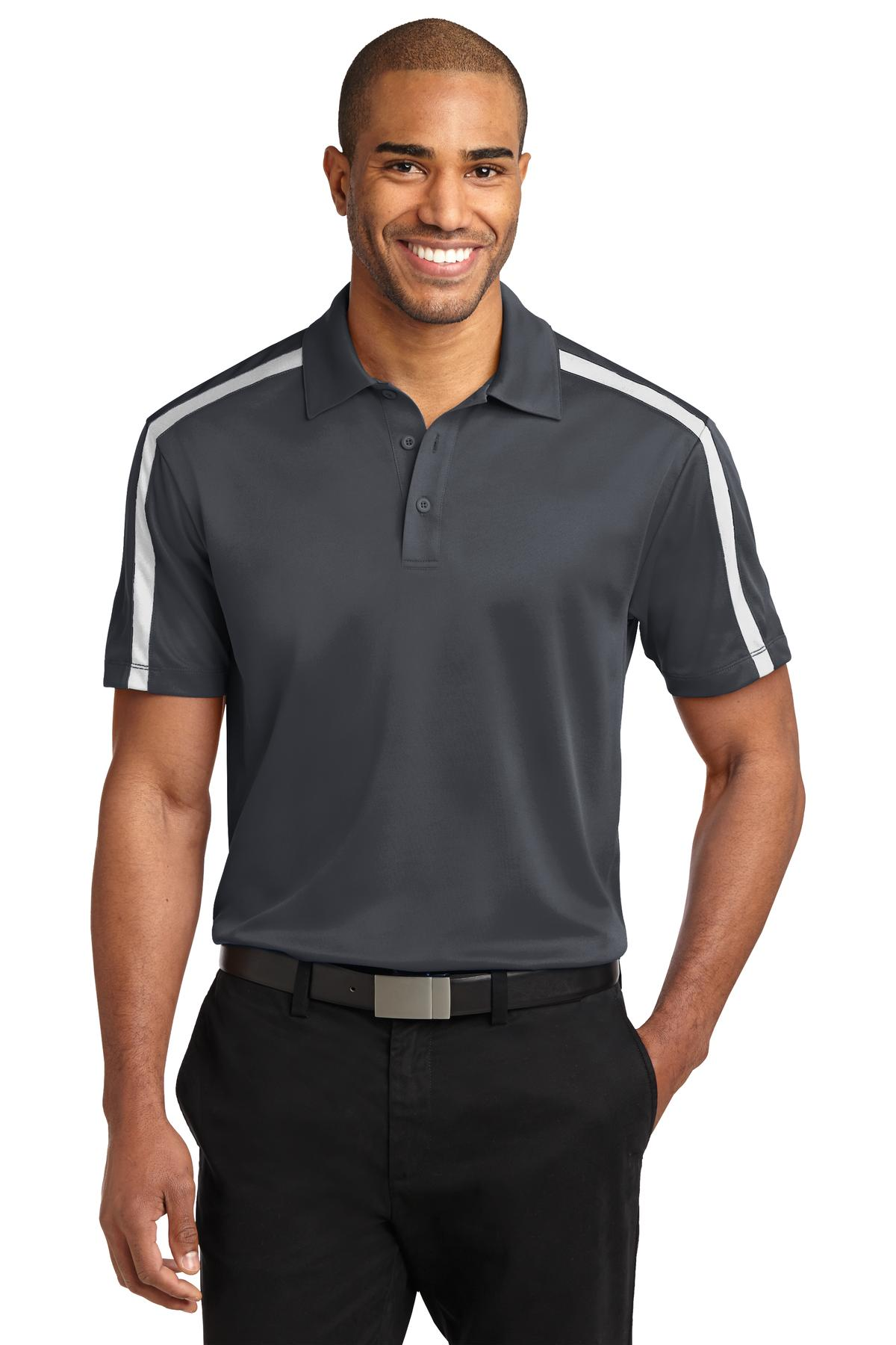 Port Authority ®  Silk Touch™ Performance Colorblock Stripe Polo. K547 - Steel Grey/ White