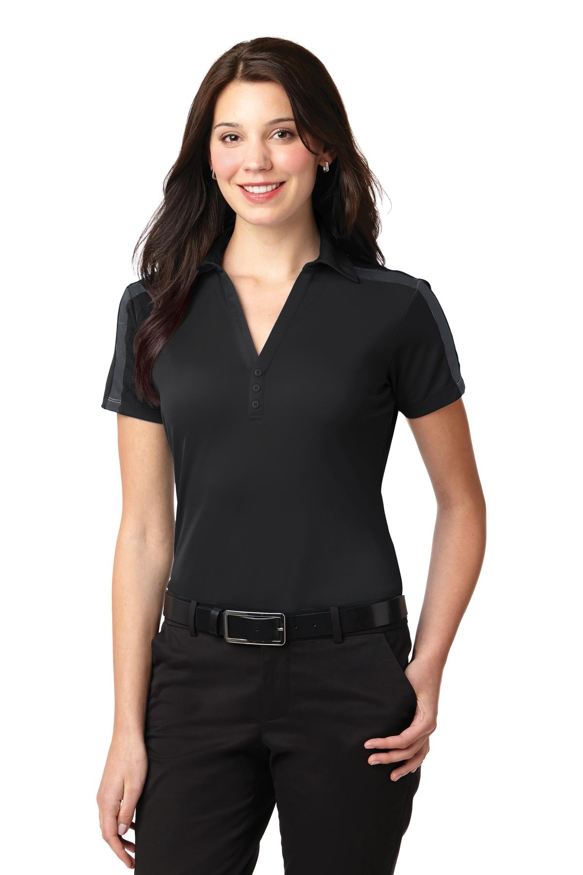 Port Authority ®  Ladies Silk Touch™ Performance Colorblock Stripe Polo. L547 - Black/ Steel Grey