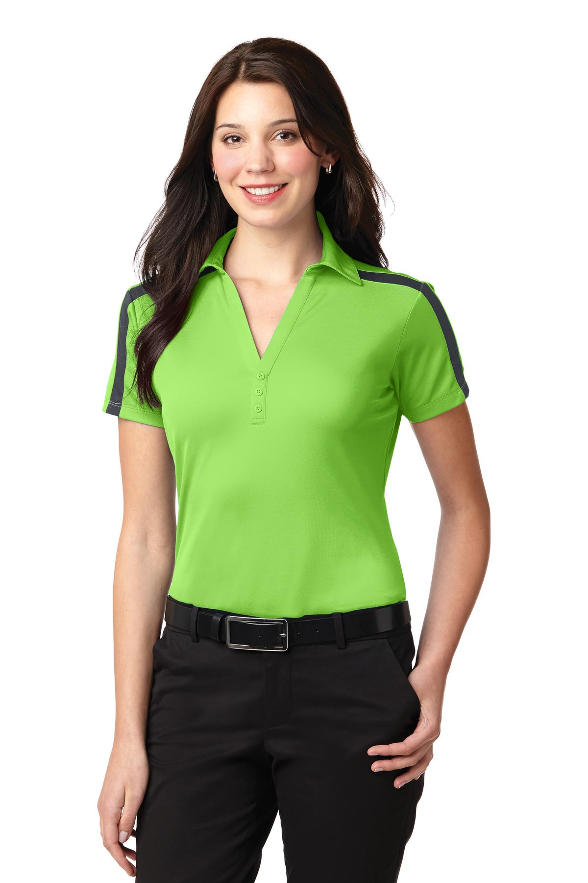 Port Authority ®  Ladies Silk Touch™ Performance Colorblock Stripe Polo. L547 - Lime/ Steel Grey