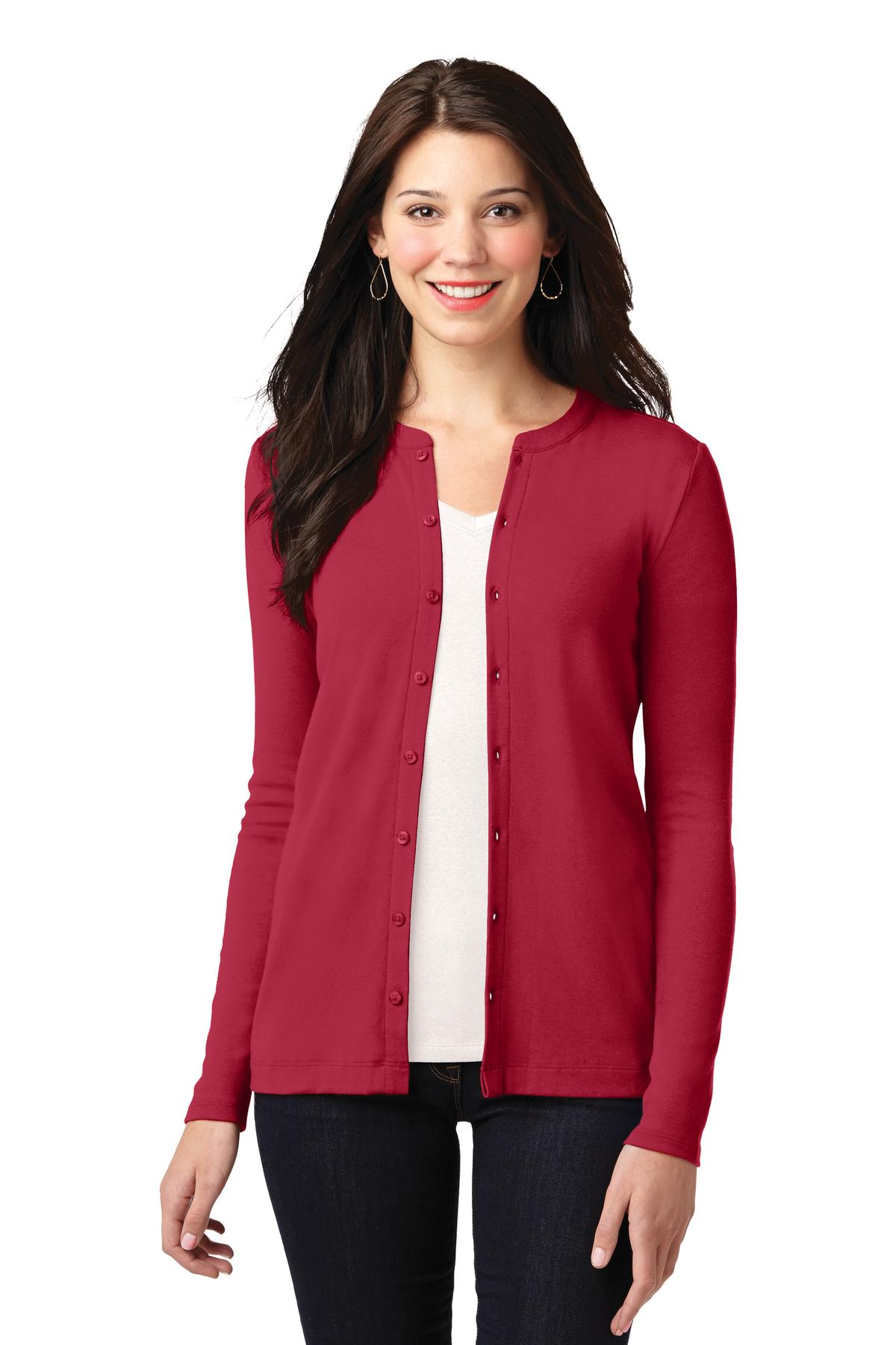 Port Authority ®  Ladies Concept Stretch Button-Front Cardigan. LM1008 - Rich Red
