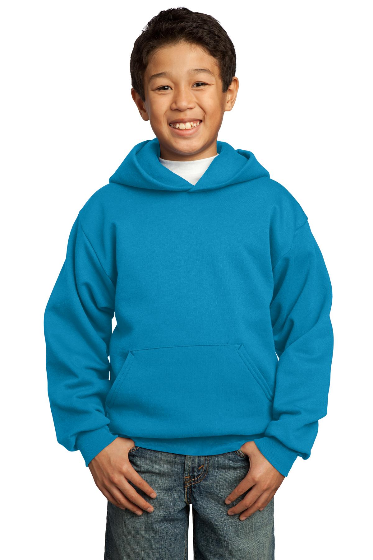 Port & Company ®  - Youth Core Fleece Pullover Hooded Sweatshirt.  PC90YH - Neon Blue