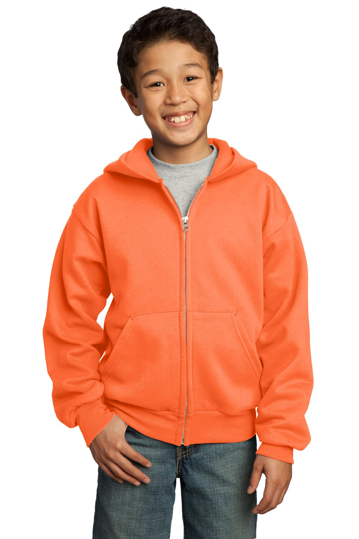 Port & Company ®  - Youth Core Fleece Full-Zip Hooded Sweatshirt.  PC90YZH - Neon Orange