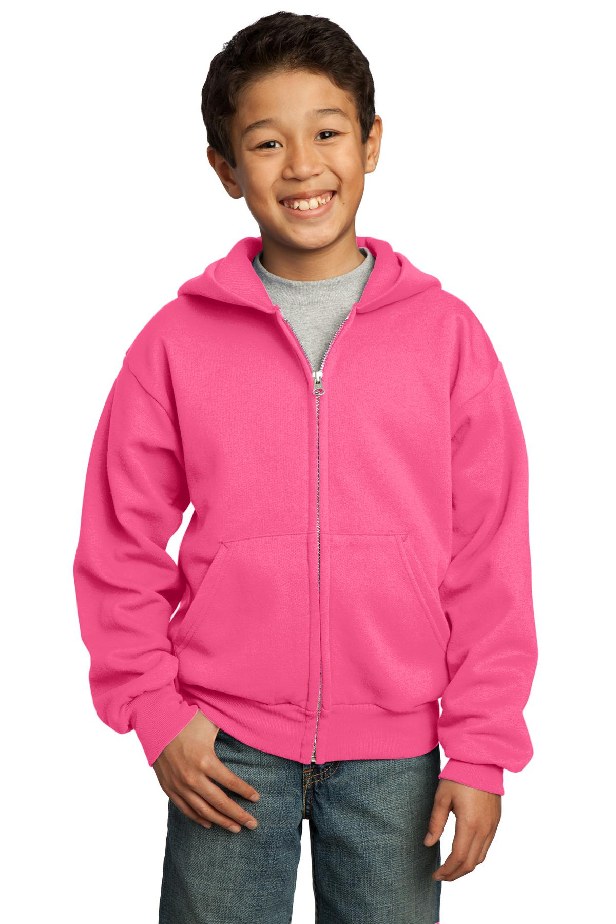 Port & Company ®  - Youth Core Fleece Full-Zip Hooded Sweatshirt.  PC90YZH - Neon Pink