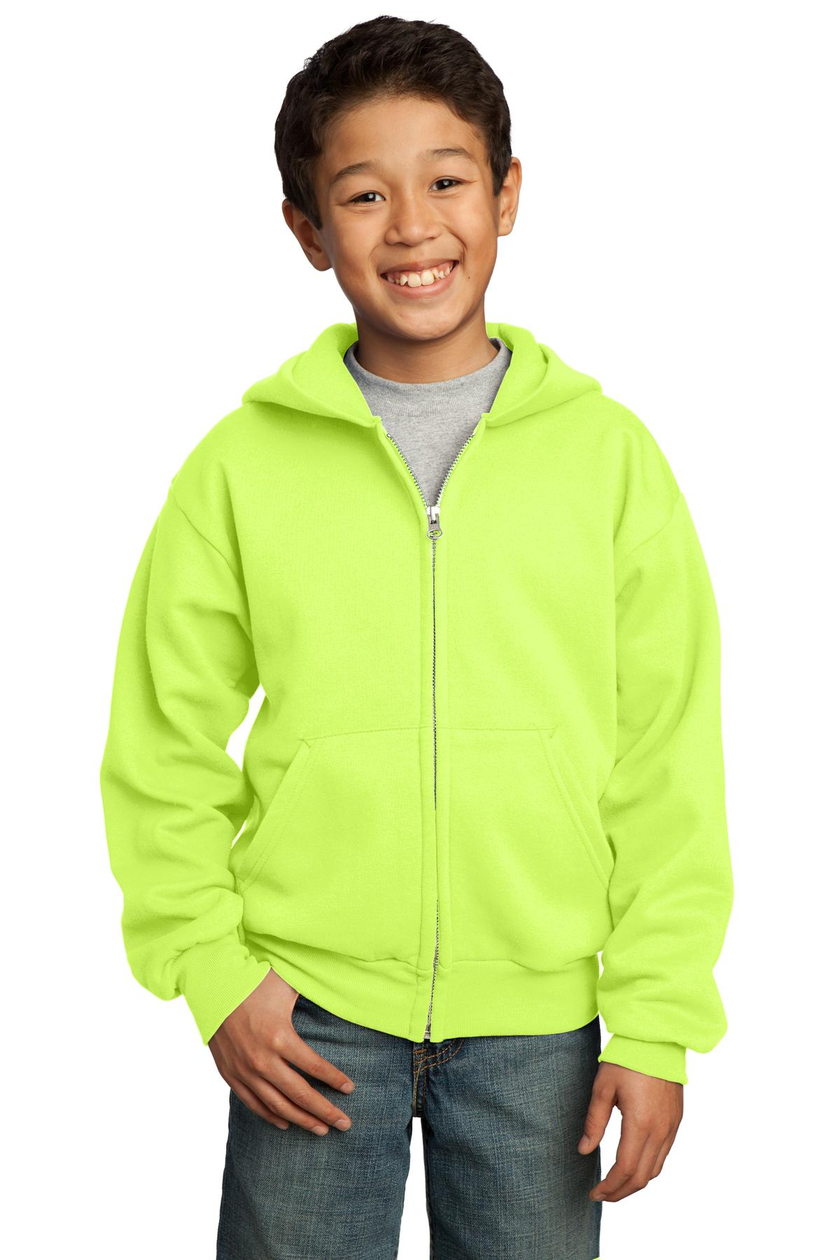 Port & Company ®  - Youth Core Fleece Full-Zip Hooded Sweatshirt.  PC90YZH - Neon Yellow
