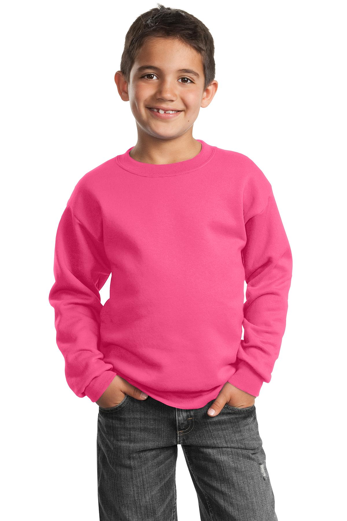Port & Company ®  - Youth Core Fleece Crewneck Sweatshirt.  PC90Y - Neon Pink