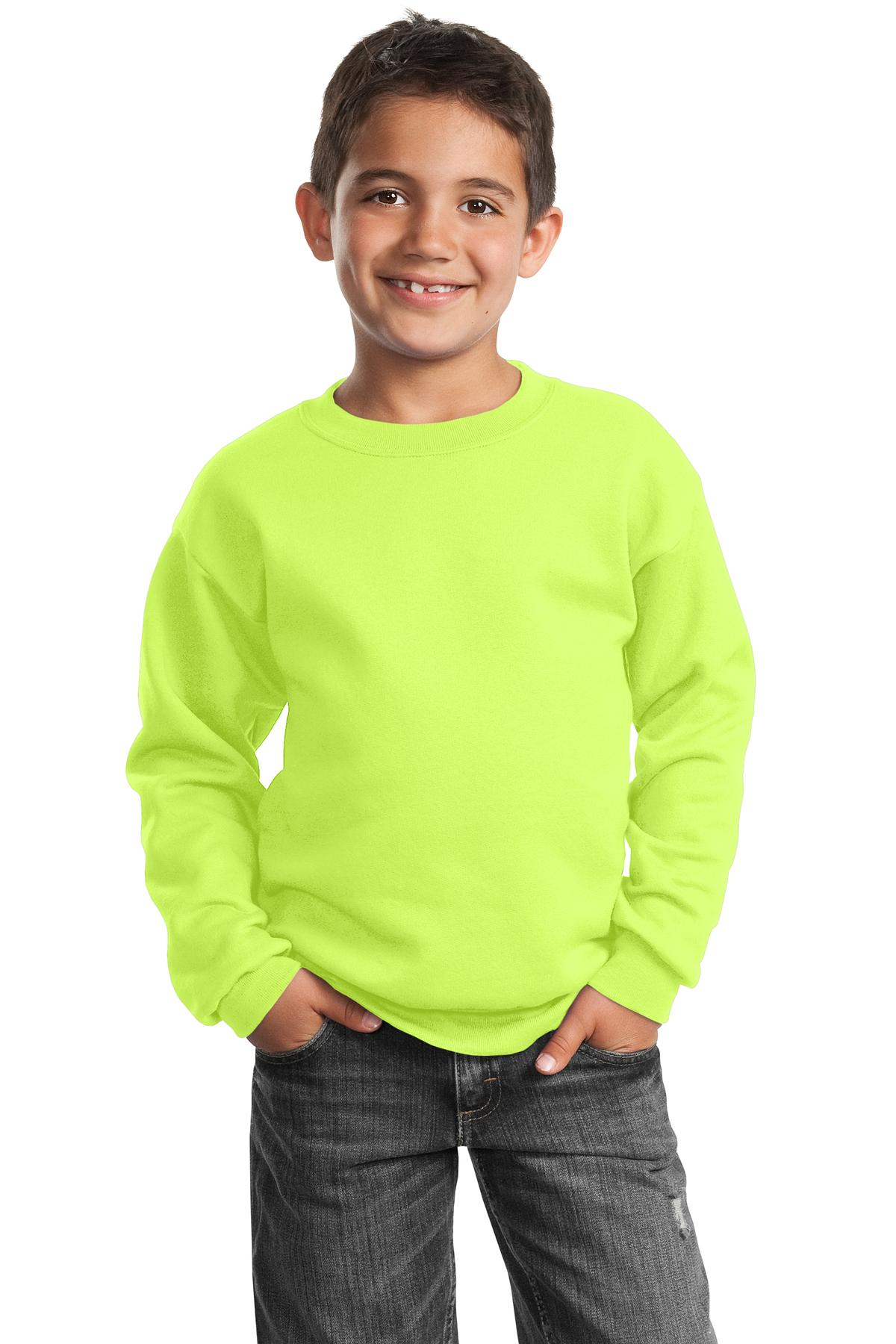 Port & Company ®  - Youth Core Fleece Crewneck Sweatshirt.  PC90Y - Neon Yellow