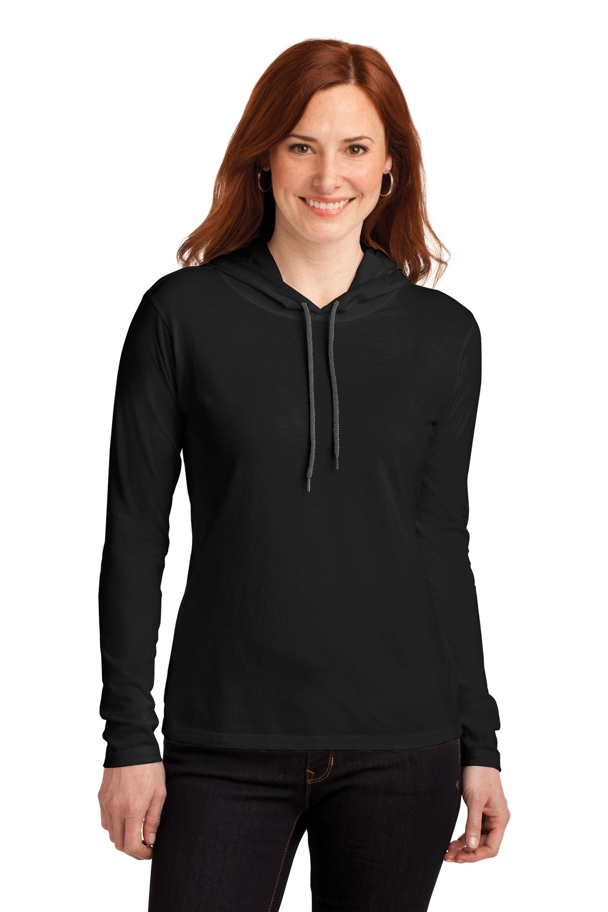 Anvil ®  Ladies 100% Combed Ring Spun Cotton Long Sleeve Hooded T-Shirt. 887L - Black/ Dark Grey