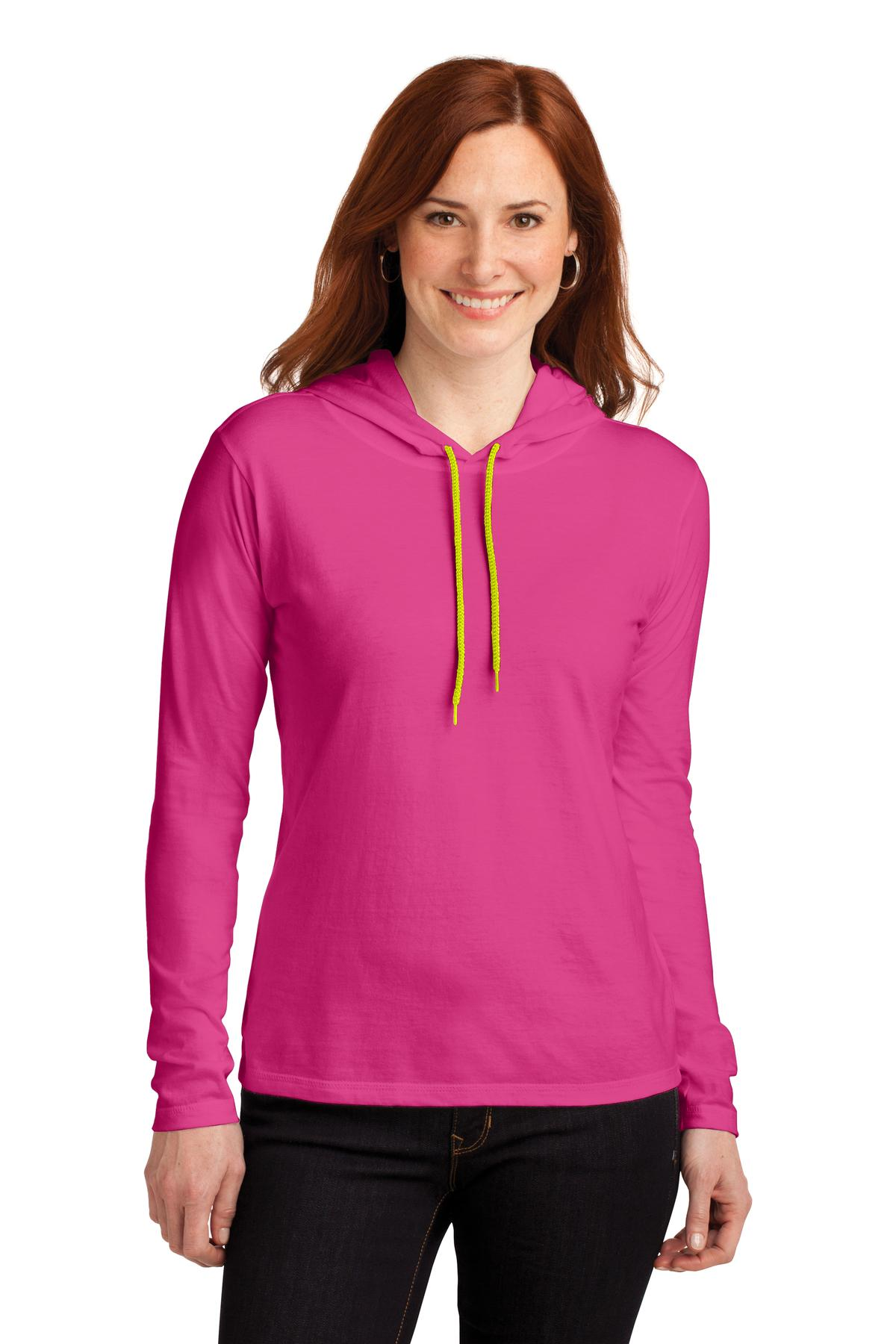 Anvil ®  Ladies 100% Combed Ring Spun Cotton Long Sleeve Hooded T-Shirt. 887L - Hot Pink/ Neon Yellow