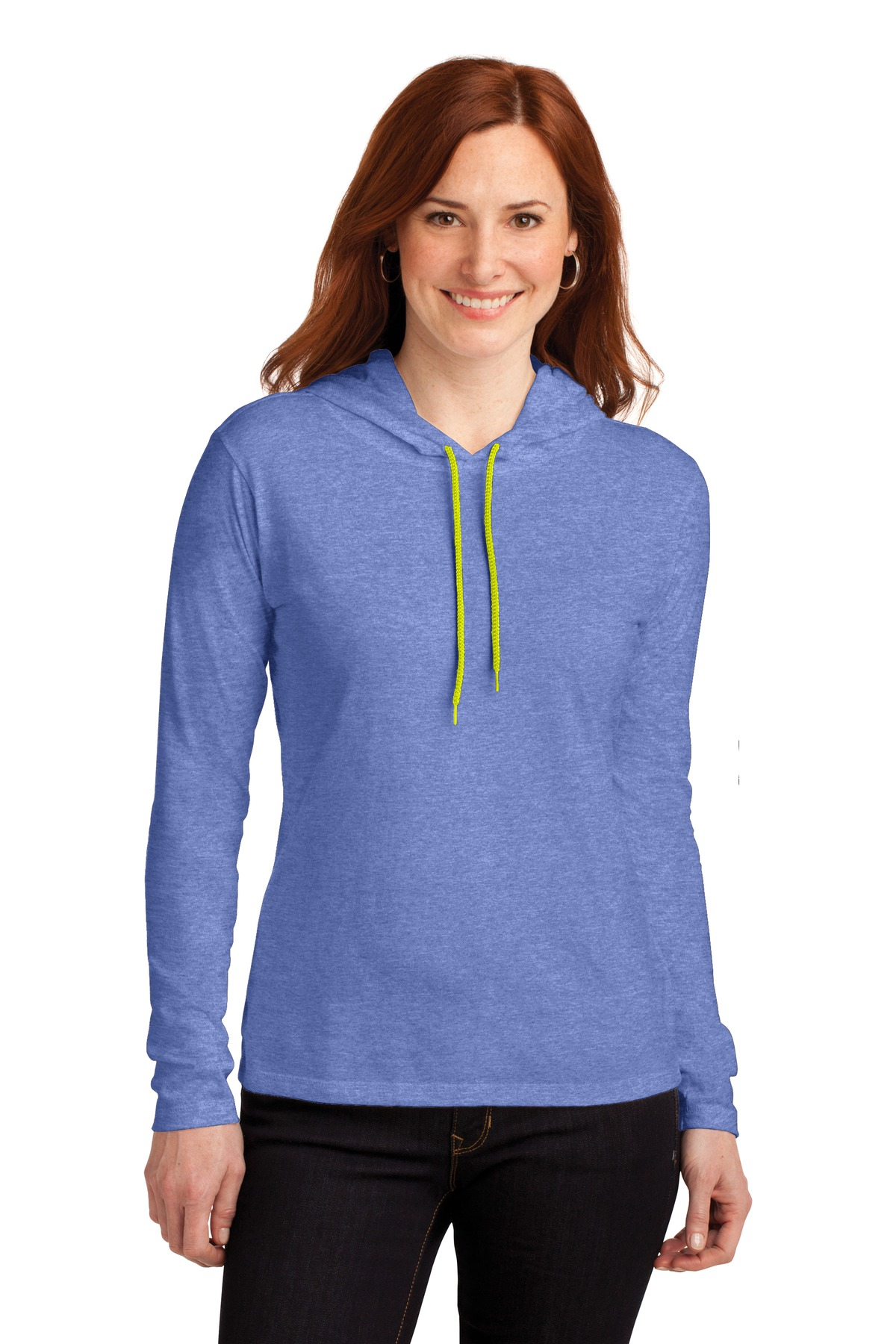 Anvil ®  Ladies 100% Combed Ring Spun Cotton Long Sleeve Hooded T-Shirt. 887L - Heather Blue/ Neon Yellow
