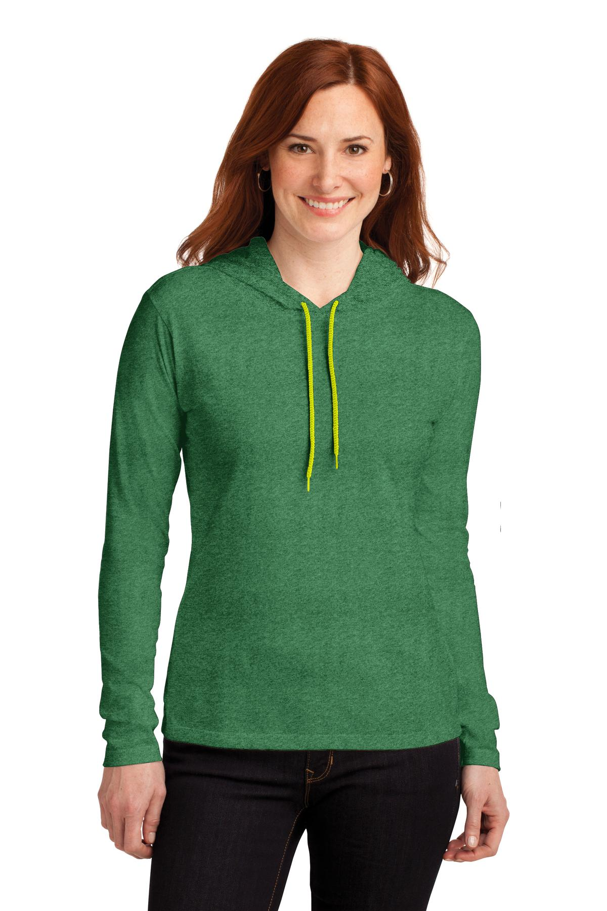 Anvil ®  Ladies 100% Combed Ring Spun Cotton Long Sleeve Hooded T-Shirt. 887L - Heather Green/ Neon Yellow