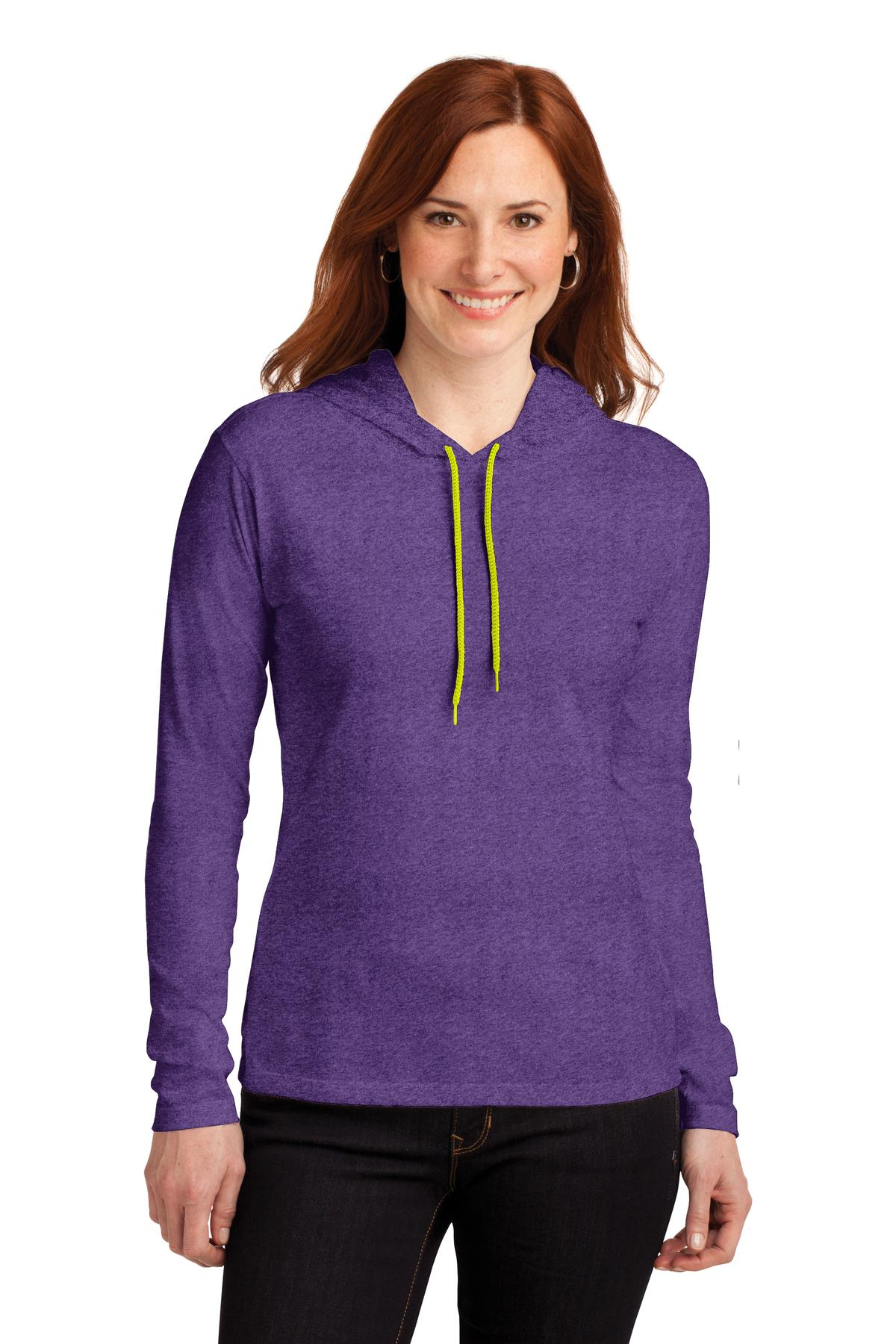 Anvil ®  Ladies 100% Combed Ring Spun Cotton Long Sleeve Hooded T-Shirt. 887L - Heather Purple/ Neon Yellow
