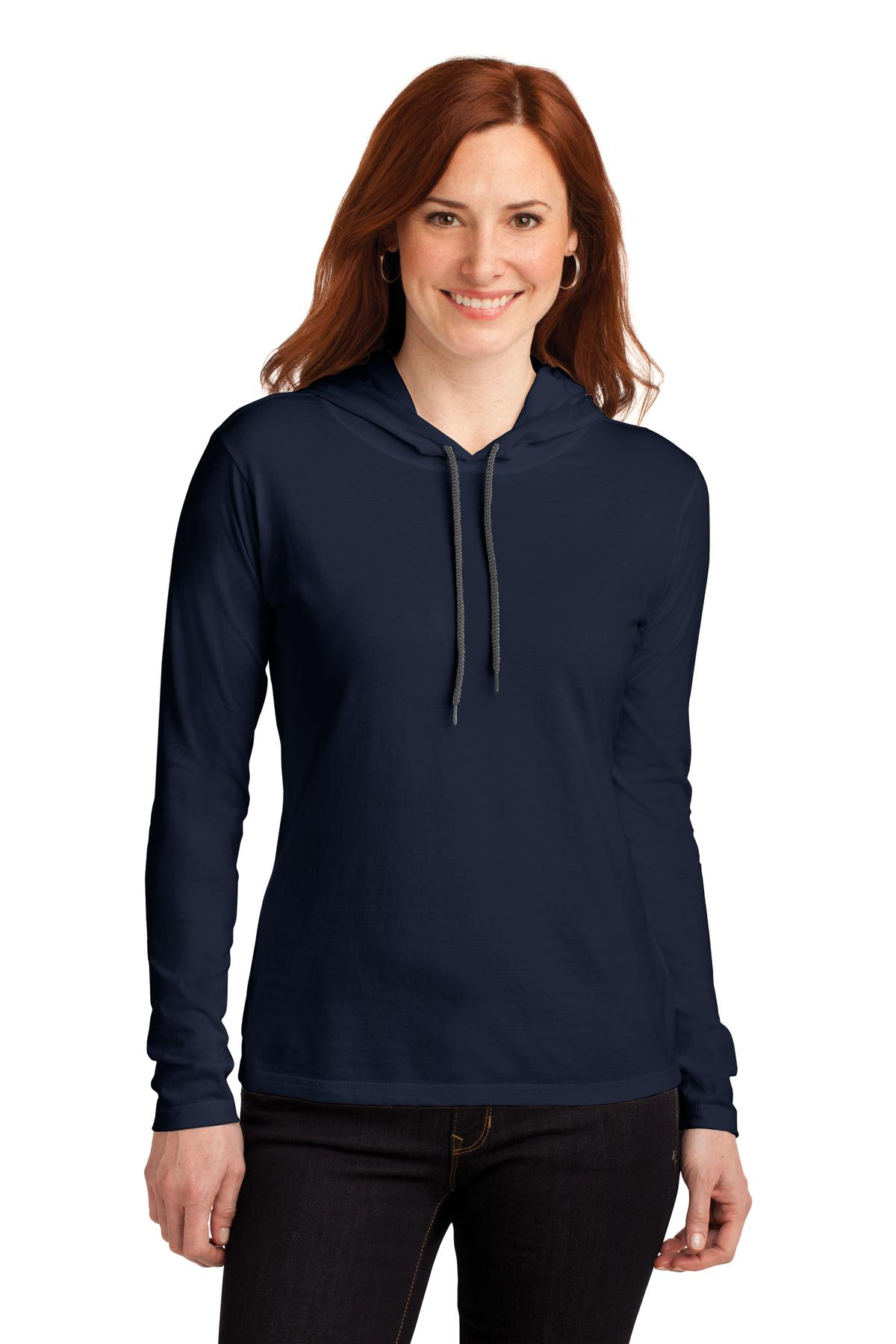 Anvil ®  Ladies 100% Combed Ring Spun Cotton Long Sleeve Hooded T-Shirt. 887L - Navy/ Dark Grey